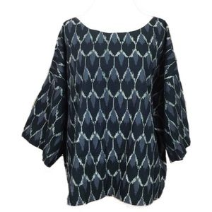 Pure jill kimono top boxy fit oversized xl blue